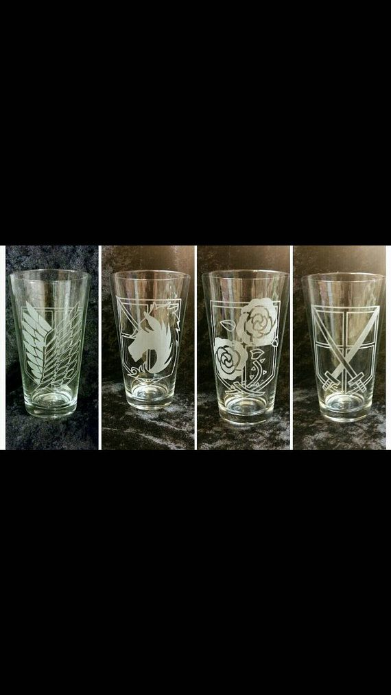 Attack on Titan Anime Inspired 4 Glass Set by SilverblattDesign