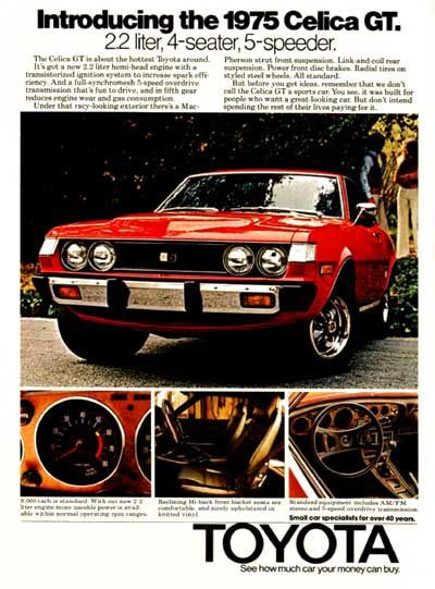 1975 Toyota Celica GT Ad... my first car! Just like the one in the ad!