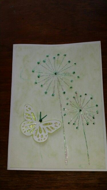 Cuttlebug embossed butterfly card.