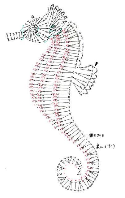 Crochet Sea Horse applique Pattern