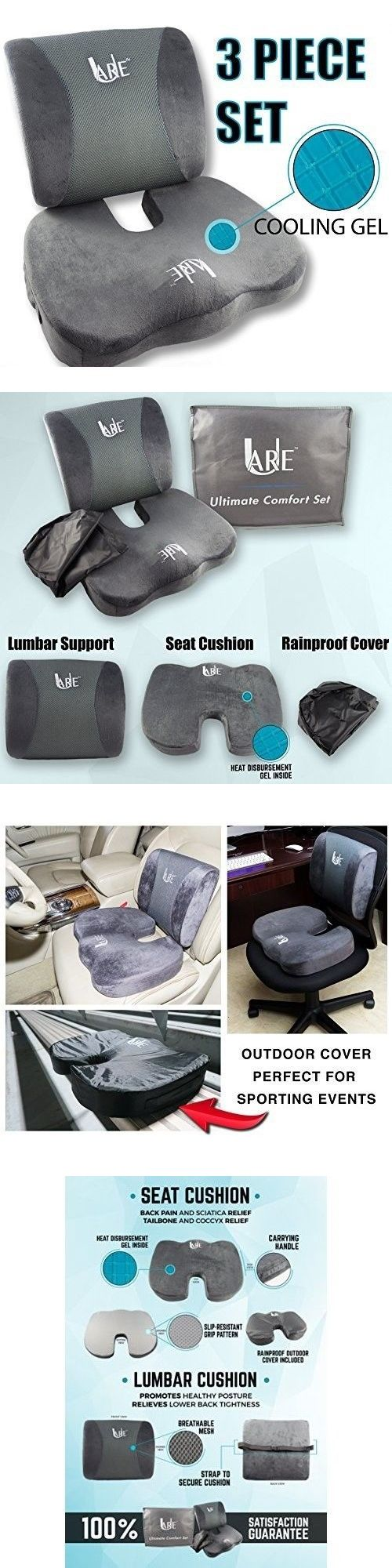 Seat and posture cushions back and lumbar support pillow office desk chair memory foam cushion