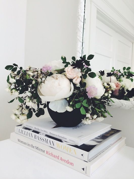 Caitlin Flemming, Coffee Tables, Book Style, Black Vases, Flower Arrangements, Fresh Flowers, White Peonies, Natalie Bowen, Coffee Table Books