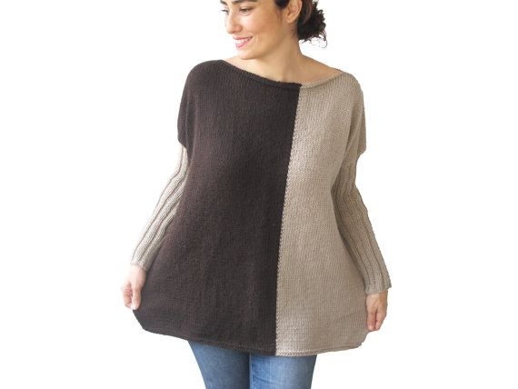 NIEUWE  bruin  licht bruine trui Plus Size Over grootte