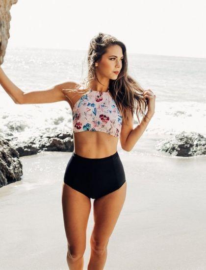 70bd6a5172 modest bathing suit tops swimwear high neck swimsuit top floral prints high  top bikini bottoms crop tank bikini top