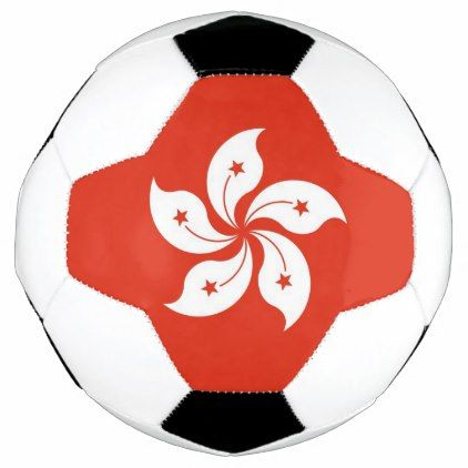 Patriotic Soccer Ball with Hong Kong Flag - flowers floral flower design unique style