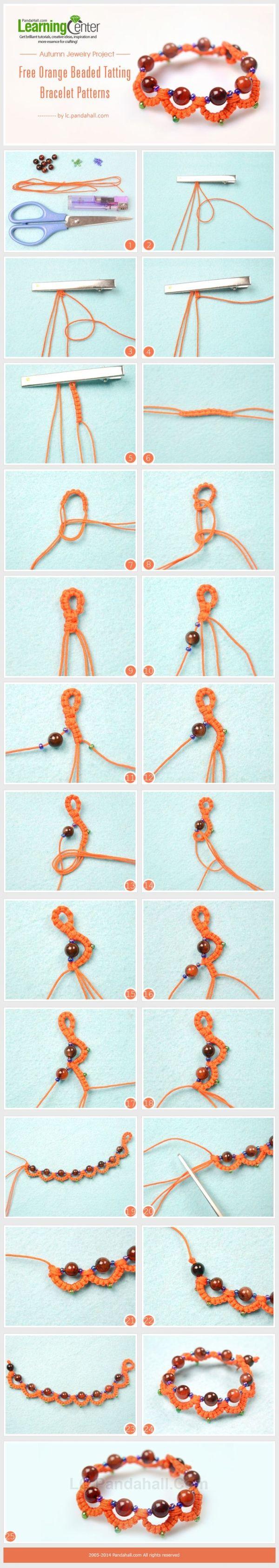 Autumn Jewelry Project- Free Orange Beaded Tatting Bracelet Patterns by wanting