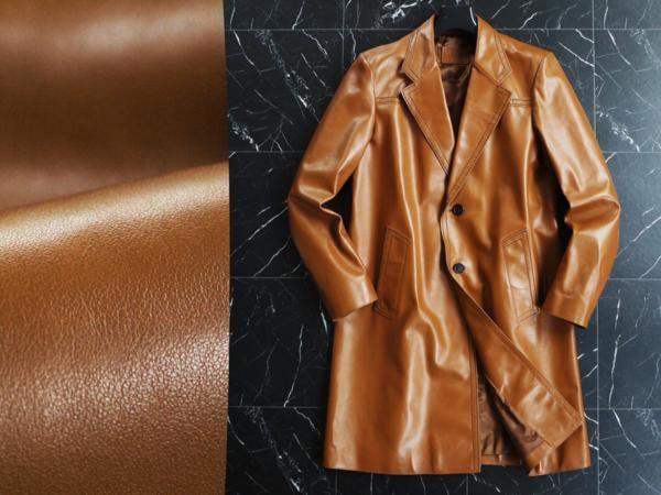 ★プラダ 豪華イタリア製本革カーフスキンロングコート★50の1番目の画像