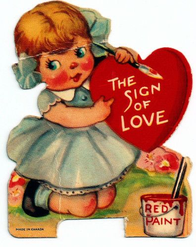 Vintage Valentine Card Little Girl Blue Dress Painting A Sign * 1500 free paper dolls at Arielle Gabriel's The International Paper Doll Society also at The China Adventure of Arielle Gabriel free paper dolls *
