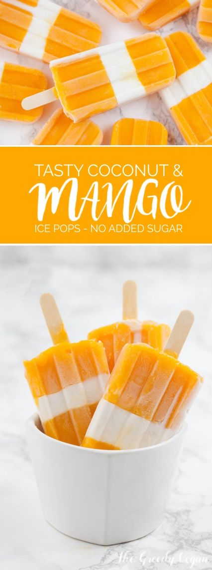 Tasty coconut and mango ice pops - Mango is a wonderful fruit that freezes easily into a deliciously smooth, melt in the mouth texture without having to do much to it at all. All you need you need are some very ripe mangoes, because the riper they are the sweeter they will be and you can avoid unnecessary sweeteners. #vegan #mango
