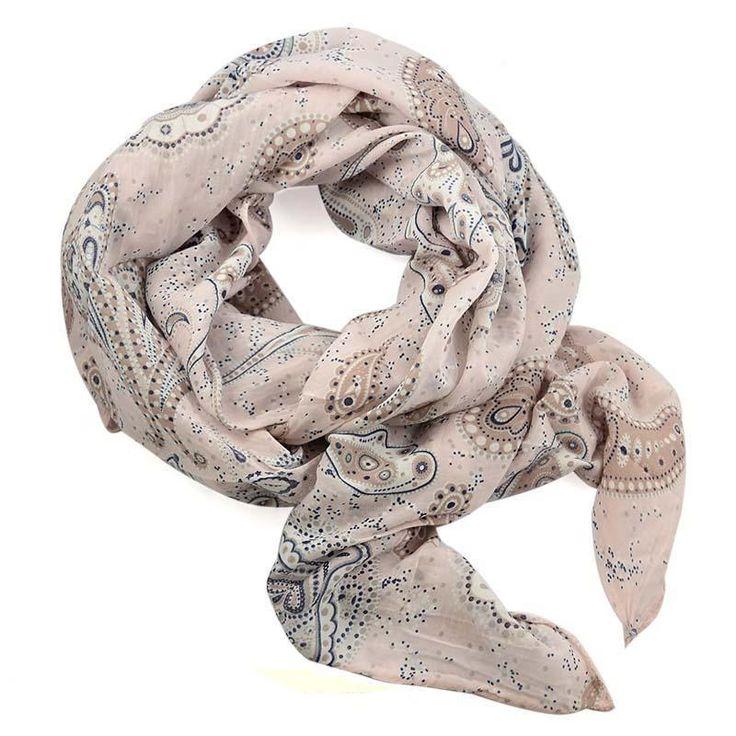 Šála bavlněná Carino 69ci010-14.01 - béžová paisley - Bijoux Me!
