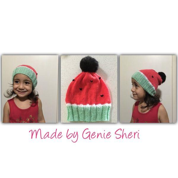 Watermelon beanie. Knitted by Genie Sheri