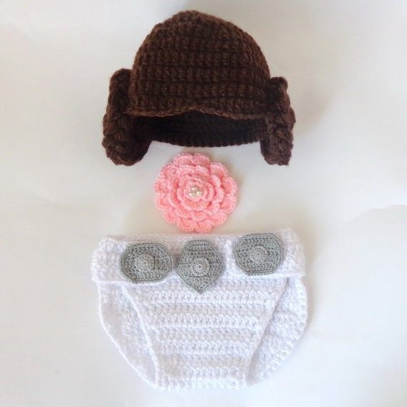 Princess Leia Crocheted Baby Hat And Diaper Cover Set From Star Wars in Crafts | eBay