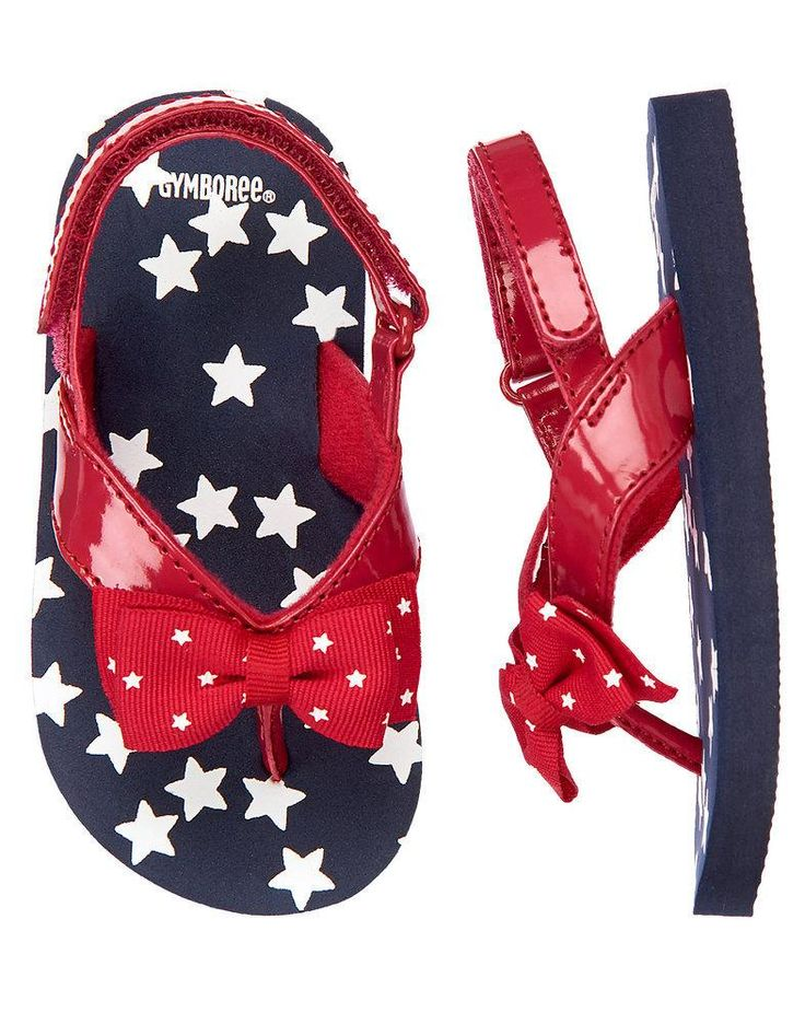 Playful flip flop features grosgrain bows printed with stars on a bright patent strap, plus a sprinkling of stars on the footbed. Manmade material. Touch-close fastener ankle strap.... More Details