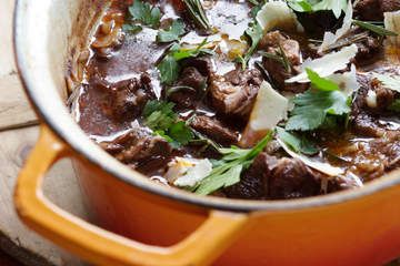 Lamb stew with red wine, anchovies and parmesan