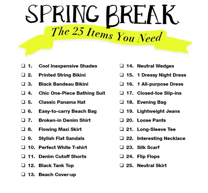 Printable Spring Break Packing List: The Only 25 Items You Need (All At $100 Or Less!)