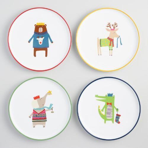 One of my favorite discoveries at WorldMarket.com: Kids' Christmas Animal Salad Plates Set of 4