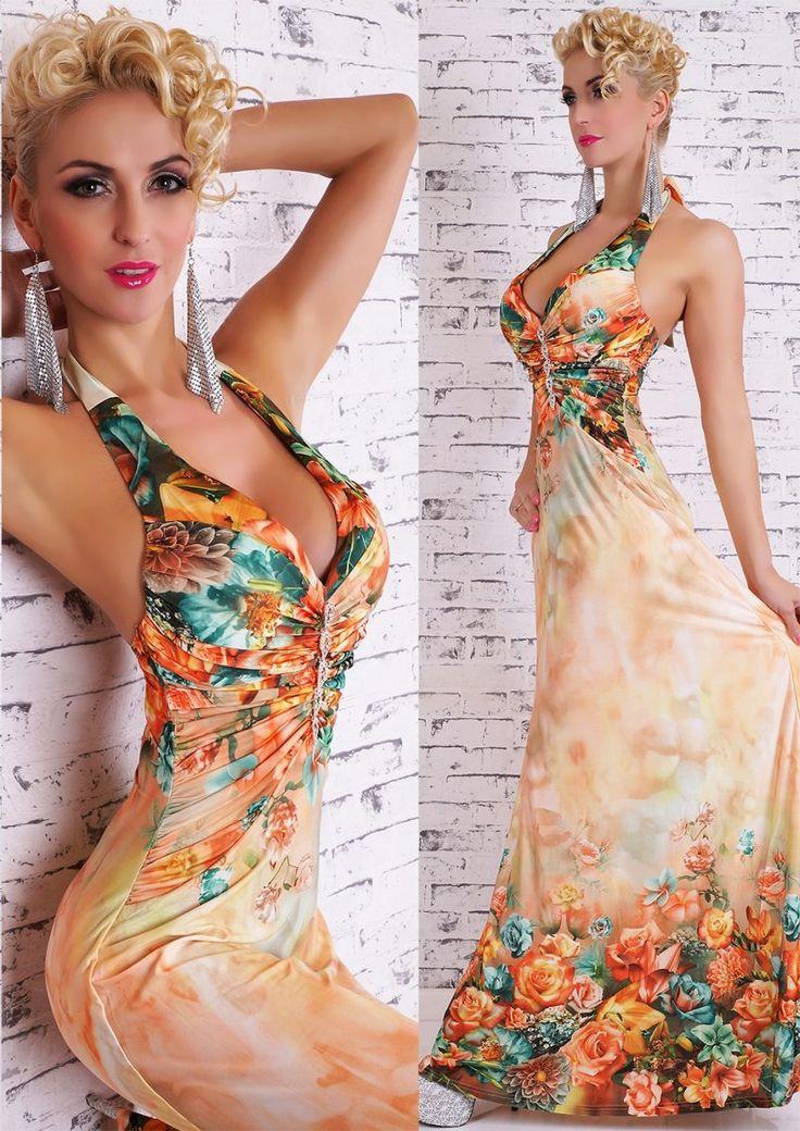 Dámské dlouhé květinové šaty, Velikost M/L, Barva oranžová