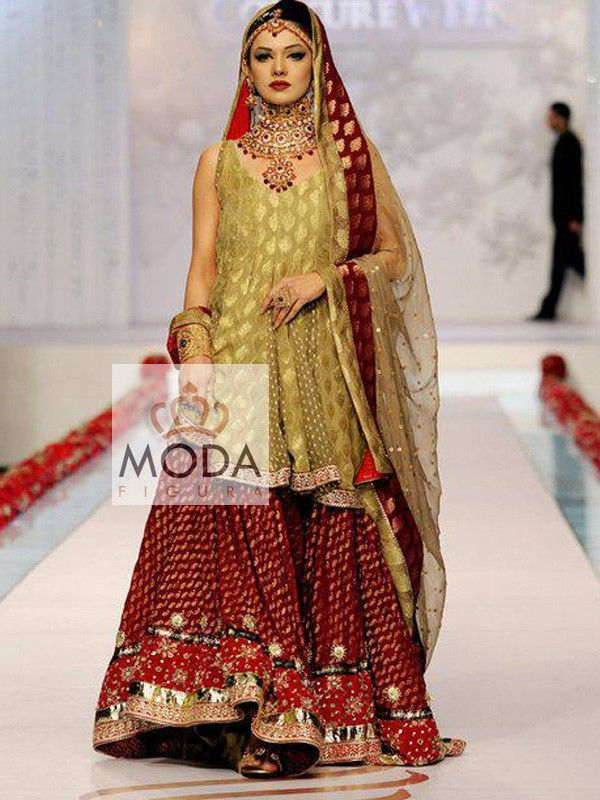 Big gher bridal gharara in marron and gold.