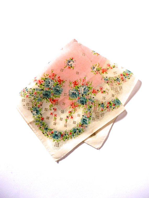 Vintage New Geometric Pixilated Floral Cotton Handkerchief