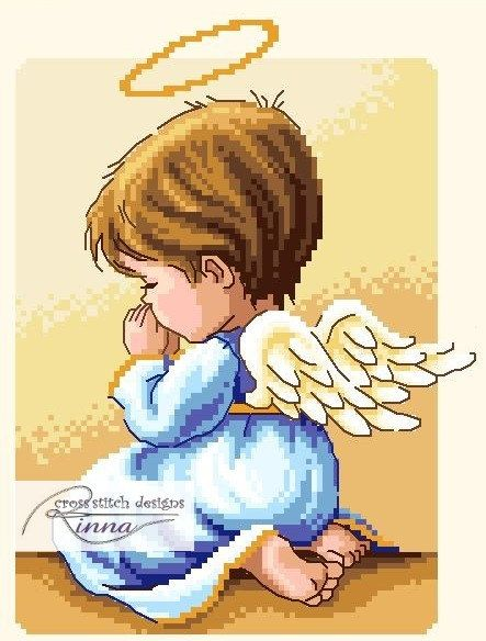 Angel in Prayer BOY by CrossStitchRinna on Etsy, $2.50