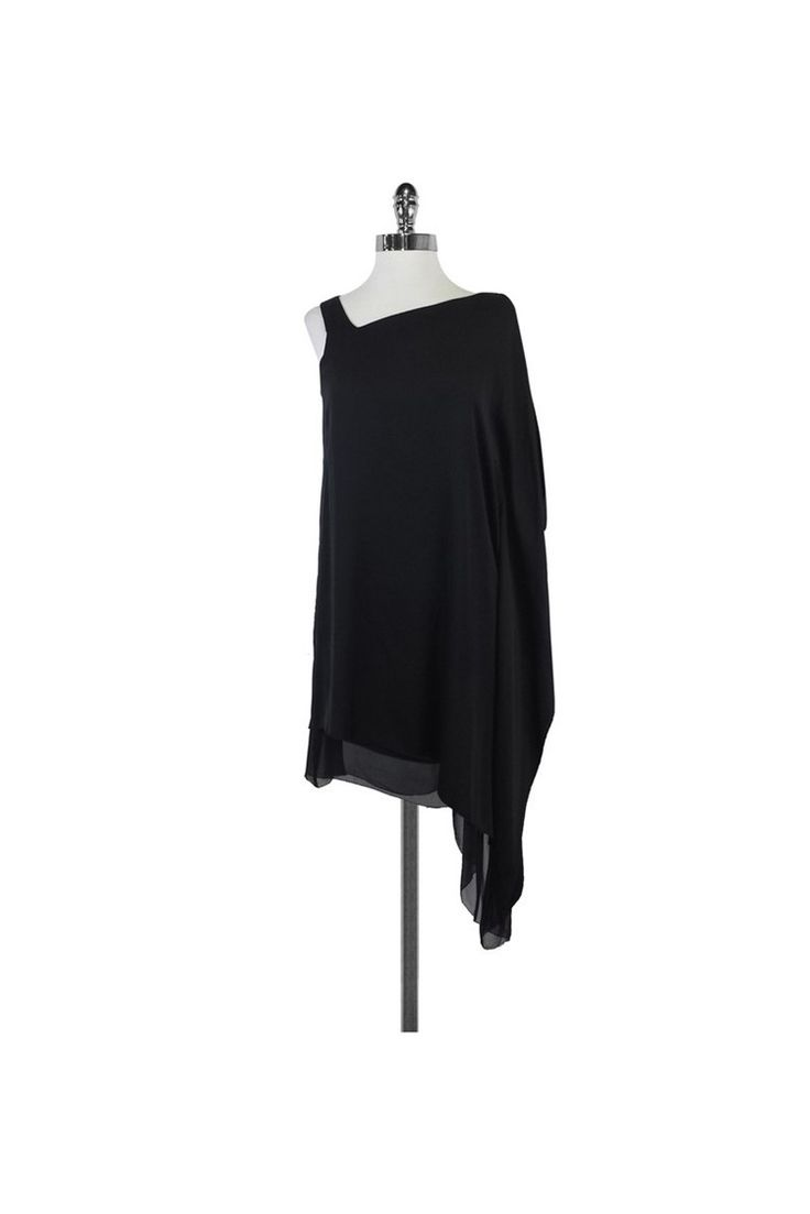 Leon Max- Black Asymmetric Drape Dress Sz M   Current Boutique