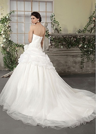 Magnificent Organza Satin & Organza & Satin Ball Gown Strapless Sweetheart Pick Up Chapel Train Weddign Gown