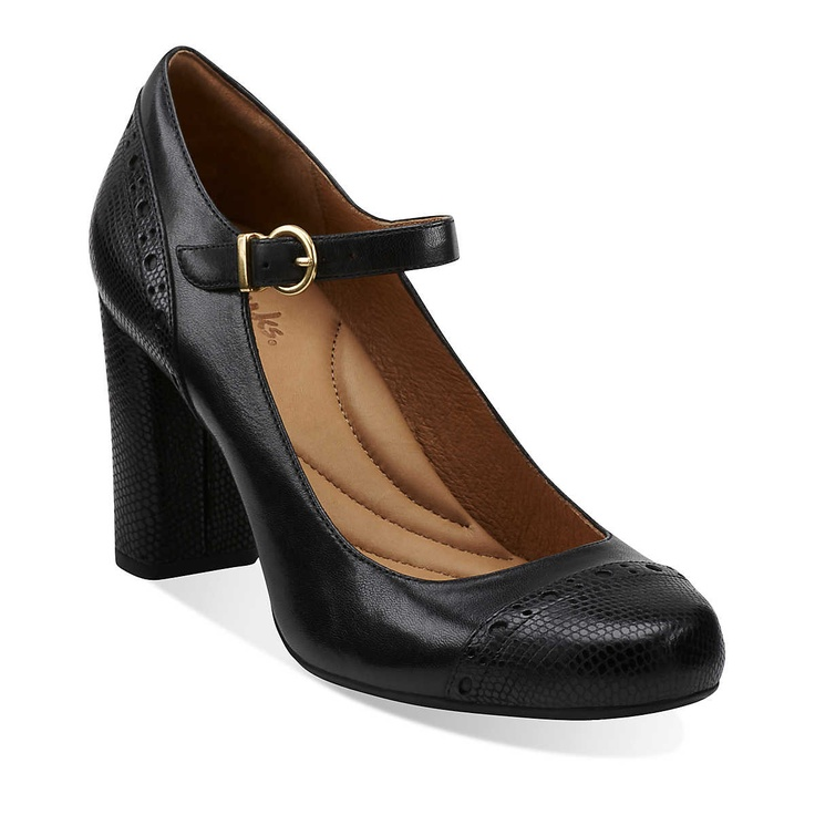 Loyal Dove in Black Leather - Womens Shoes from Clarks