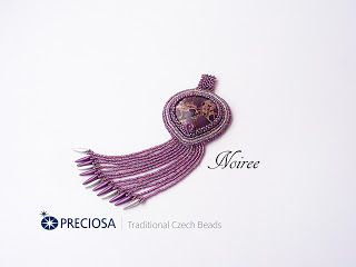 koralikowe fantazje Noiree: Wisior Masquerade jasper with Preciosa beads #jasper #embroidery #pendant