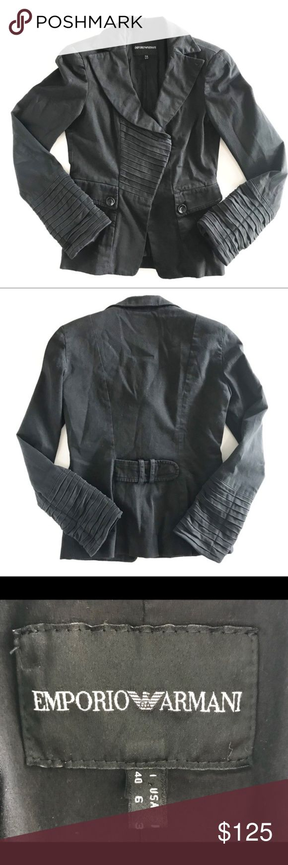 """Emporio Armani Black Moto Blazer Jacket 6 Emporio Armani Black Moto Blazer Jacket, Shoulder Pad attached, Medium weight, not to light, and not too heavy, makes for a perfect layer. Size 6, EUC, Smoke Free Home   Measurements are approx.   Length: 22"""" Chest: 34"""" Sleeve: 24"""" Emporio Armani Jackets & Coats Blazers"""