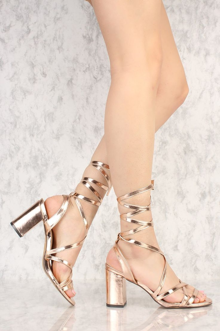 Rose Gold Lace Up Tie Open Toe Chunky High Heels Faux Leather
