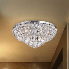 4 Light Flush Mount Chandelier Chrome Dining Room Bedroom Ceiling Lighting