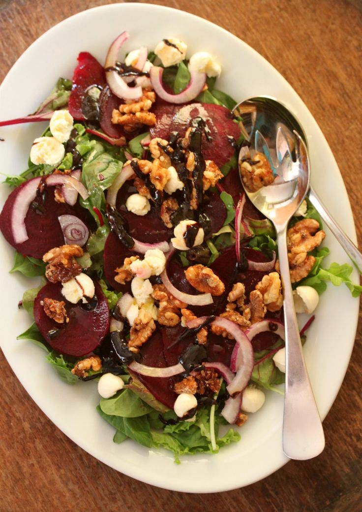 Beetroot Salad with Honeyed Walnuts – without the cheese and honey for me, but still a good start to a recipe :)