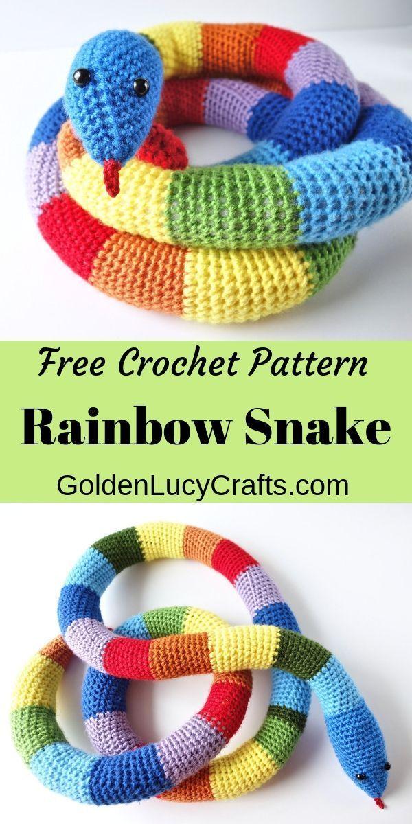Crochet Rainbow Snake, Free crochet Pattern