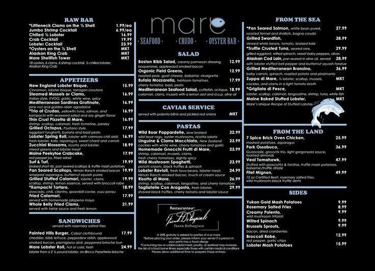 Mare Oyster Bar   Menu