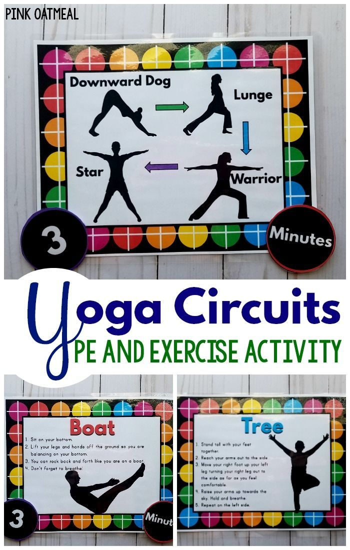 Physical education and exercise activities.  These yoga circuits are great for younger and older kids. Love all the different options, poses, and sequences!  Great for a classroom, physical therapy, occupational therapy, physical education or brain break!  Fun yoga poses for kids!