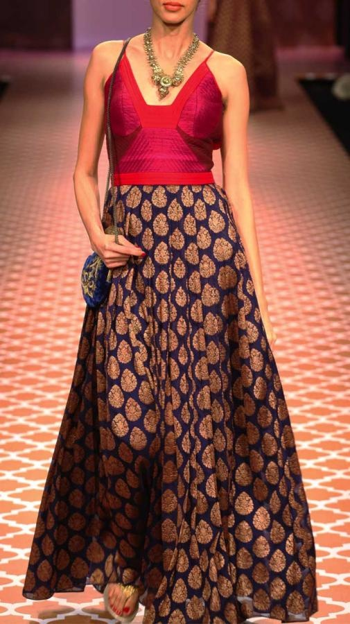 Anita Dongre blue and pink lehenga