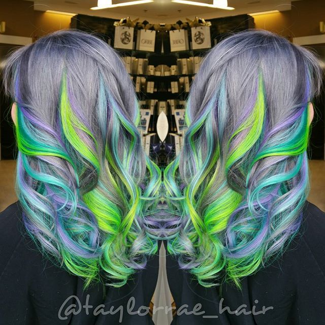 Lilac gray metallic base hair color with ribbons of neon green hair color and pastel blue hair color hotonbeauty.com