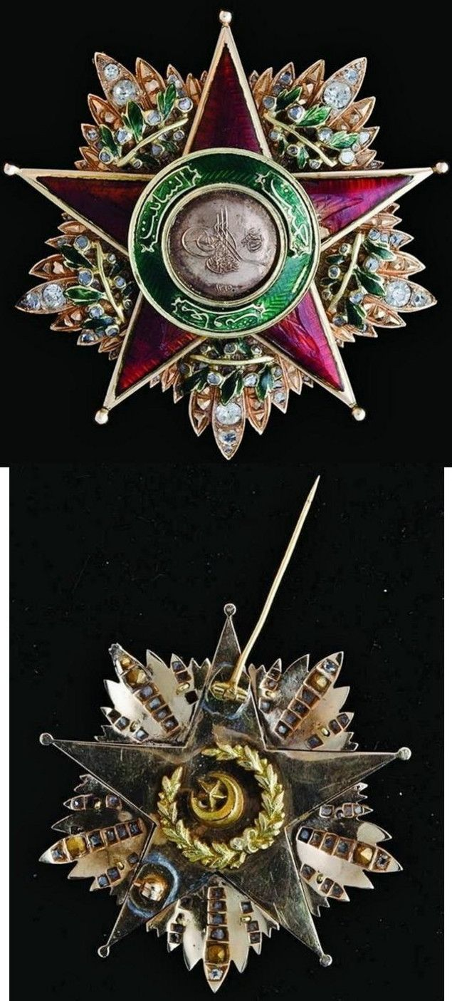 Front and reverse of a First Class star of the Ottoman Order of Charity (Nişan-ı Şefkat).  Instituted in 1878 by Sultan Abdulhamid II, in three classes, This order was reserved for women. Gold, enamels, diamonds, rubies, 57mm, circa 1876-1883.  From the collection of Ayhan Özcan.