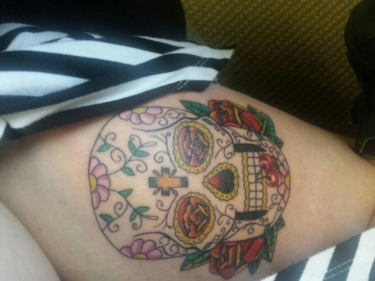 Sugar Skull. Thigh Tattoo. Live it.