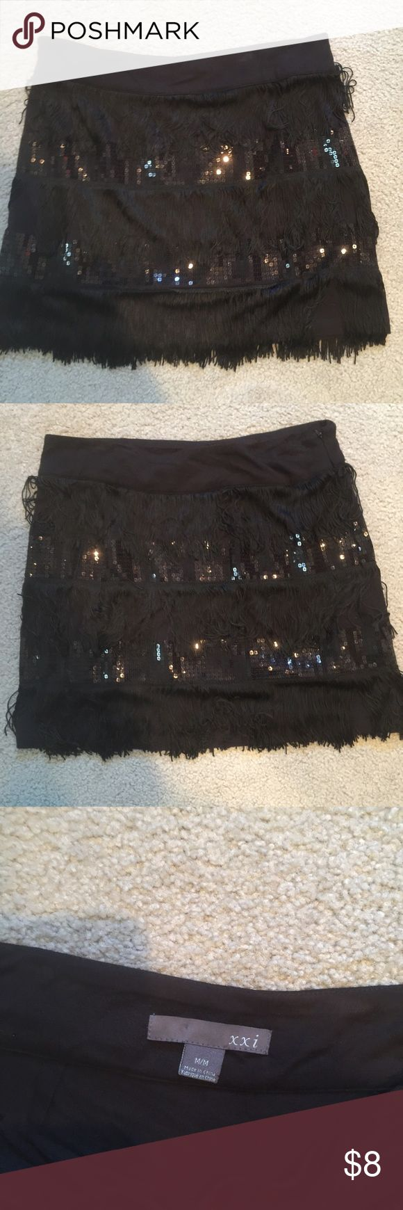 Fun black sequined and tousled skirt Black lightly worn going out skirt Forever 21 Skirts Mini