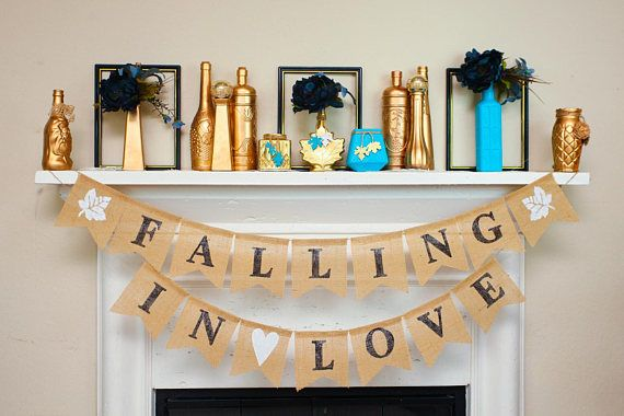 Falling In Love Banner Fall Engagement Bunting Autumn