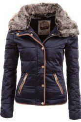 Chic Turn-Down Neck Long Sleeve Pocket Design Padded Coat For Women (CADETBLUE,L) | Sammydress.com Mobile