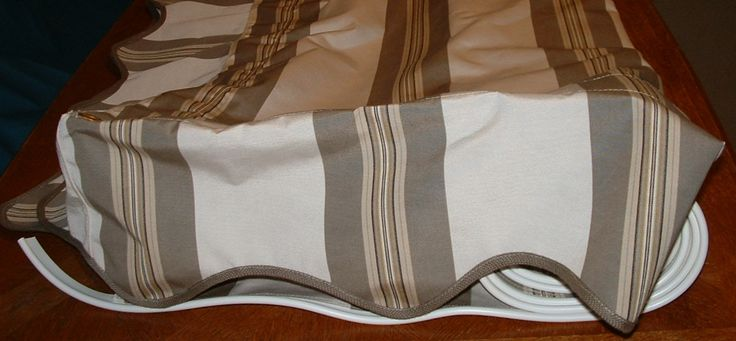 8' x 8' Taupe Tailored Bar Stripe Sunbrella awning for sale dfoster@bellsouth.net