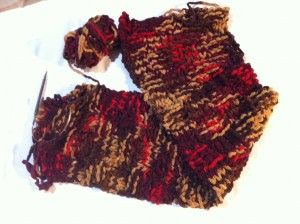Syal Rajut Knitting dengan Benang Super Bulky