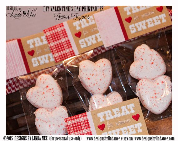 Valentine Candy Topper - TREAT for someone SWEET! DIY Valentine Craft ~ Valentines Day Treats and Cards ~ Classroom Party ~ You may trim and use as a Valentines Day Card too!  These wrappers are a fun and inexpensive treat for your childs class, neighbors, friends or family! They also make great party favors! ____________  Please see my additional printables including gift tags, Hershey Bar wrappers, mini candy bar wrappers, cupcake toppers and more for a complete PARTY PACKAGE…