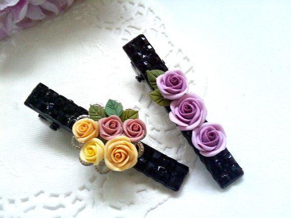 Polymer Clay Roses Hair Clips - Color Yellow, Lavender and Beige - (Set of Two) - HC021