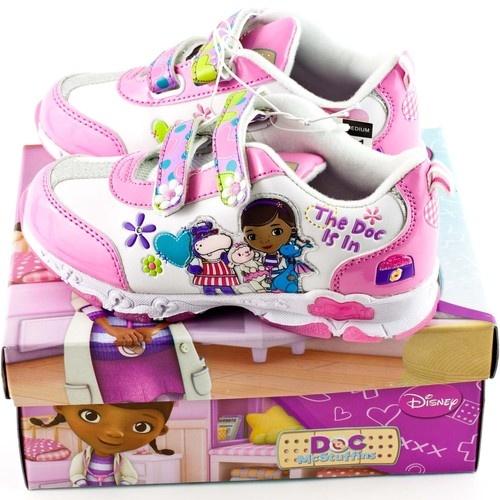Doc McStuffins White Girls Tennis Athletic Light Up Shoes