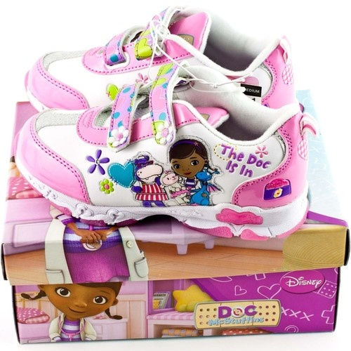 Doc McStuffins White Girls Tennis Athletic Light Up Shoes