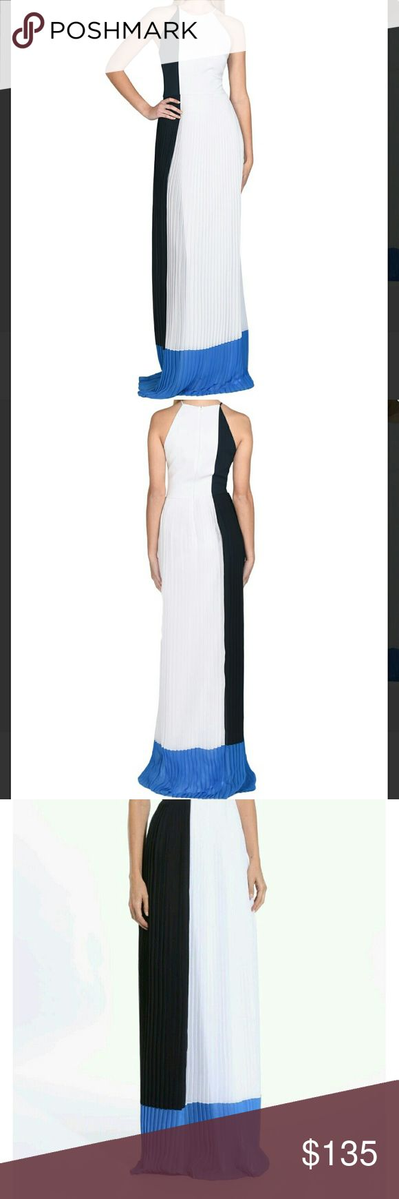 Badgley Mischka EG1861 Pleated Colorblock Evening Badgley Mischka EG1861 Pleated Colorblock Evening Gown   Look stylish and on-trend in this colorblock full-length dress with lightweight accordion pleats. Wear this chic style day or night; it's perfect for spring or summer soirees (or your upcoming holiday in the sun).  Fully lined 98% polyester, 2% spandex Dry clean only  SIZE:0  *ALL SALES ARE FINAL* Badgley Mischka Dresses Maxi