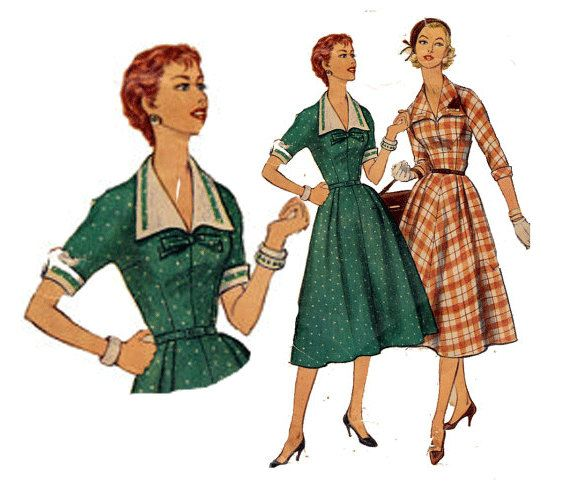 """50s Dress Pattern Detachable Collar and Cuffs Kimono Sleevs Vintage Sewing Pattern Size 16 Bust 34"""" (86 cm) Simplicity 1245 S"""